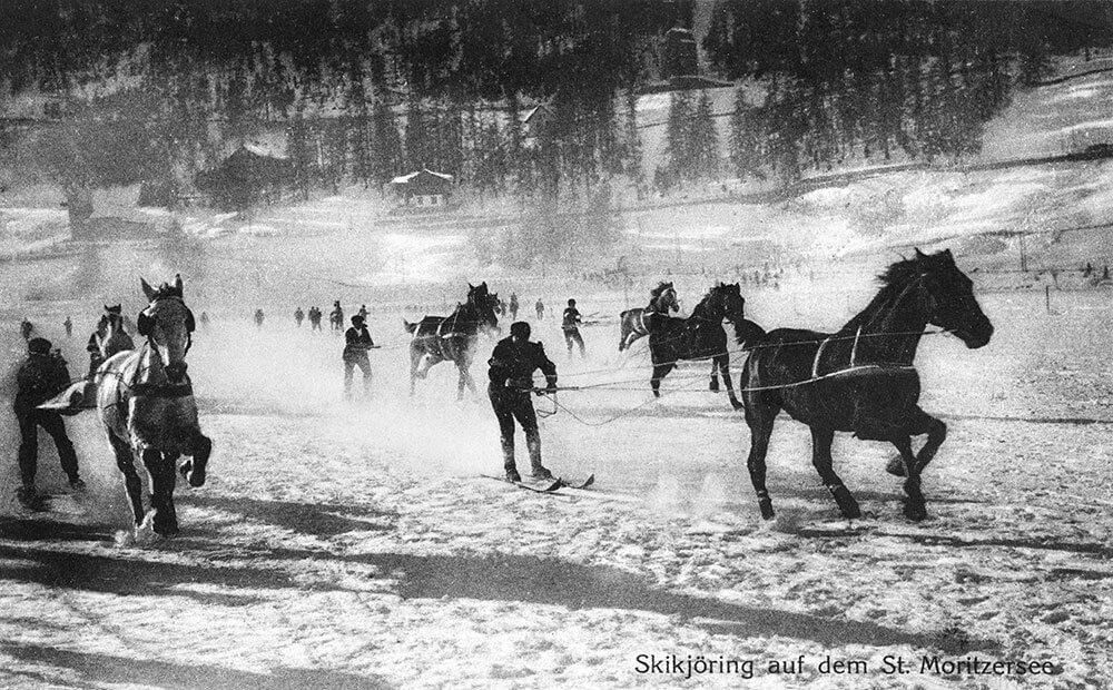Skikjöring ved White Turf i St. Moritz 1912
