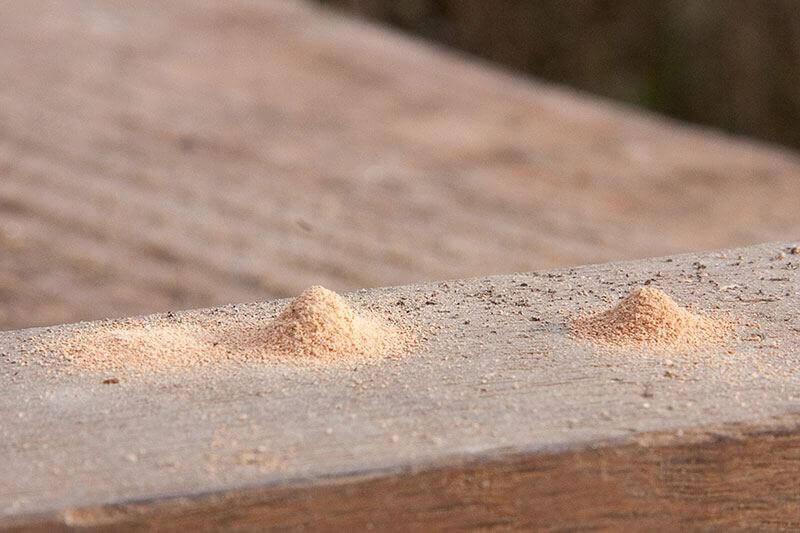 Pyramider af boresmuld på træoverflade
