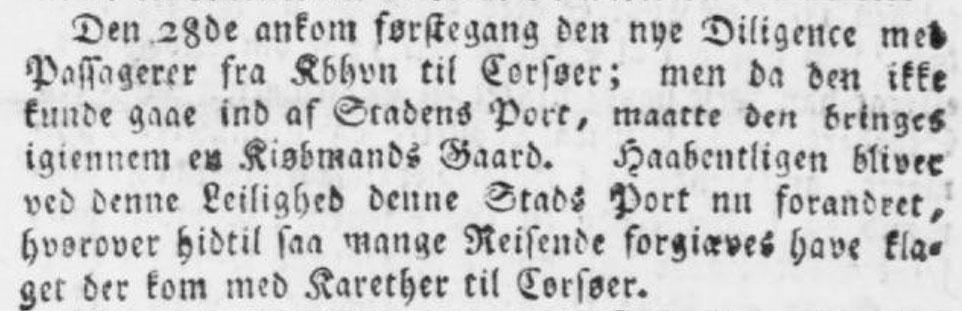 Diligence Korsør 1799