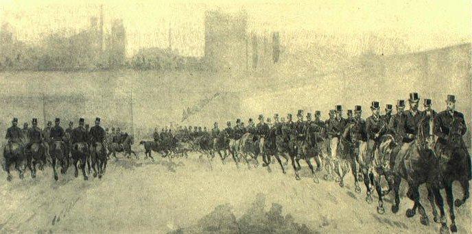Herremanøvre ved opvisningen i Lørups ridehus 1893