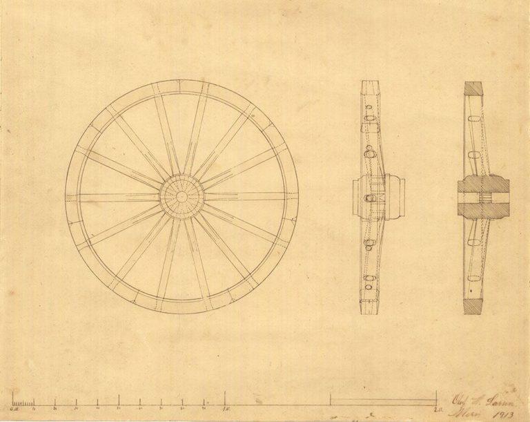Arbejdsvognshjul tegnet af hjulmager Oluf H. Larsen