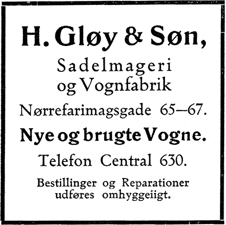 Gløy annonce 1911
