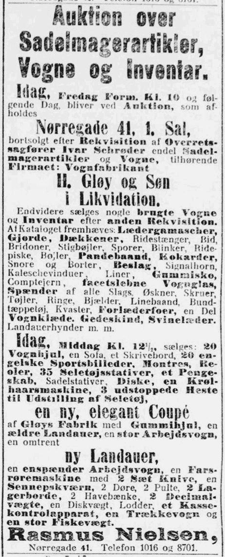 Auktion over Gløys lagerbeholdning 1914