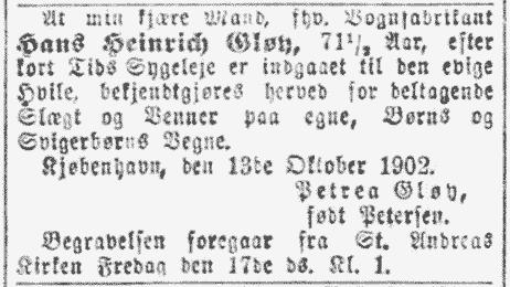 H.H. Gløy dødsannonce 1902