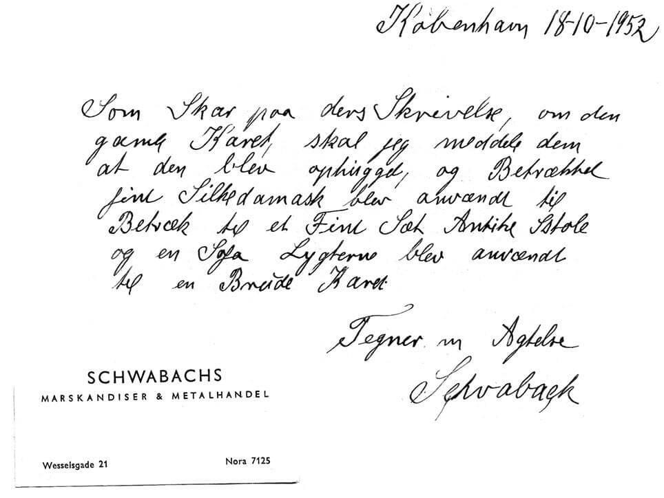 Skrivelse fra Schwabach 1952