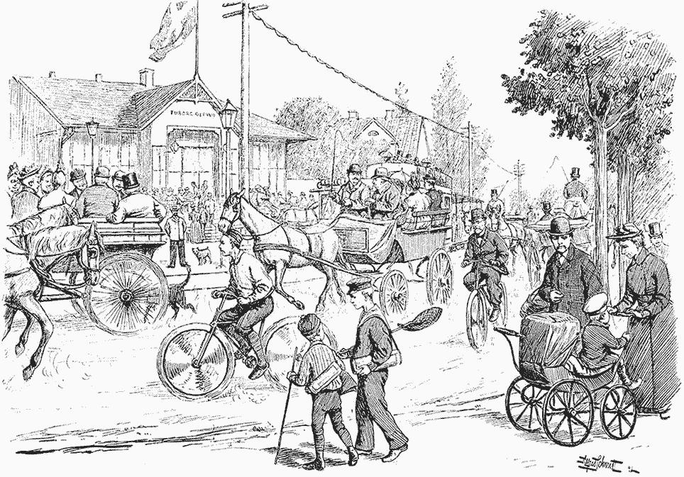 Stærk trafik på Strandvejen i 1892
