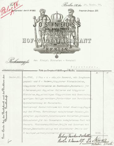 Faktura på Daumontvognen fra Neuss 1906