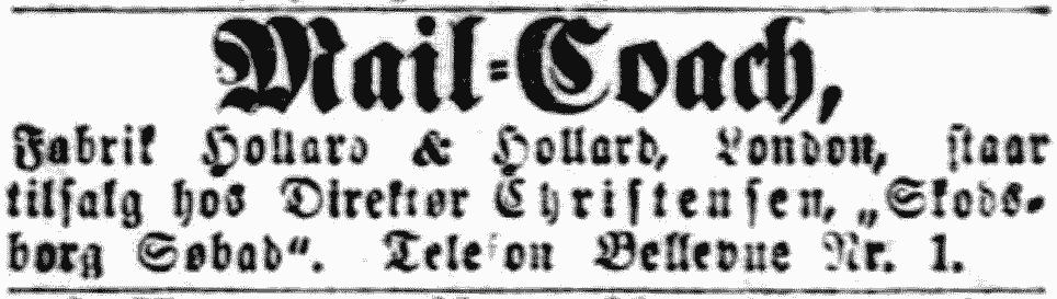 Annonce for mail-coachen i Berlingske Tidende