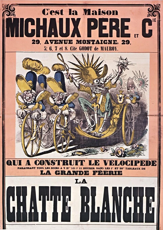 Plakat om velocipede à la Daumont, 1880