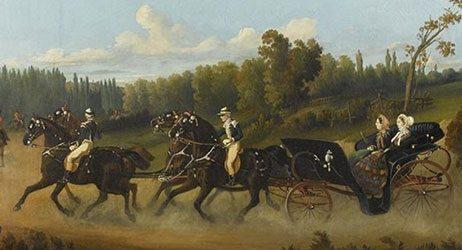 Dronning Victoria og kejserinde Eugénie kører à la d'Aumont