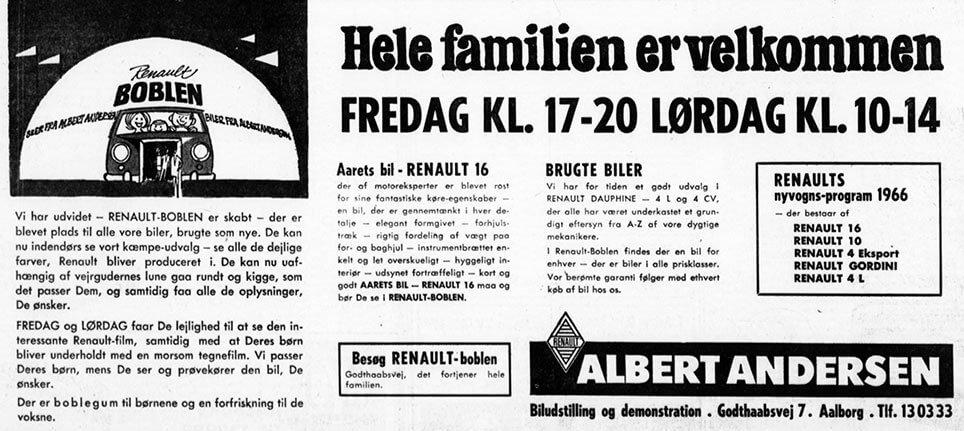 Annonce fra Albert Andersen, der viser Renault-Boblen.