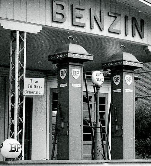 Benzinstation under anden verdenskrig.