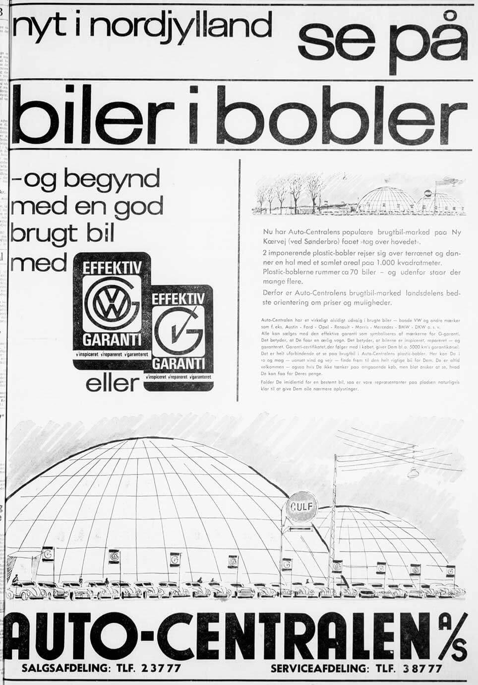 Biler i bobler. Annonce i Aalborg Stiftstidende 1963