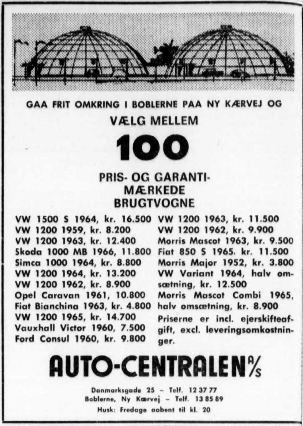 Auto-Centralen, annonce 1967