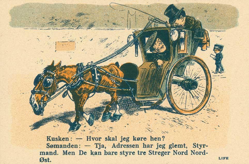 Satiretegning af Hansom Cab. Klodshans 1911.