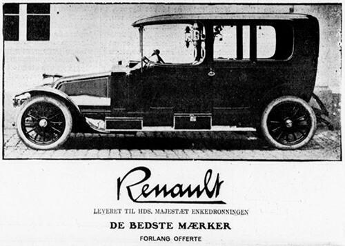 Enkedronningens Renault i annonce fra H. C. Christiansen