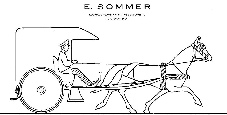 Skitse til Erik Sommers droske.
