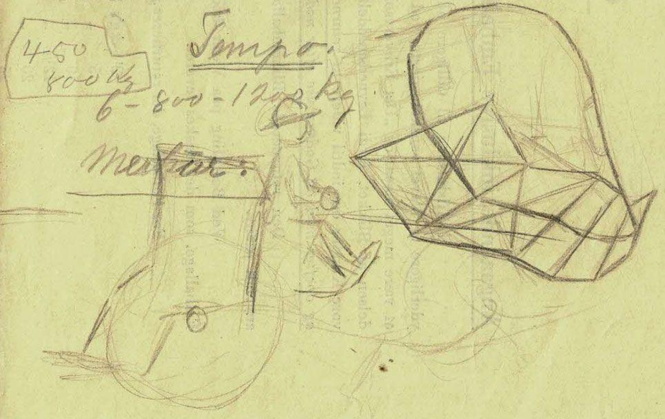 Erik Sommer skitserede også en droske med kusken foran.