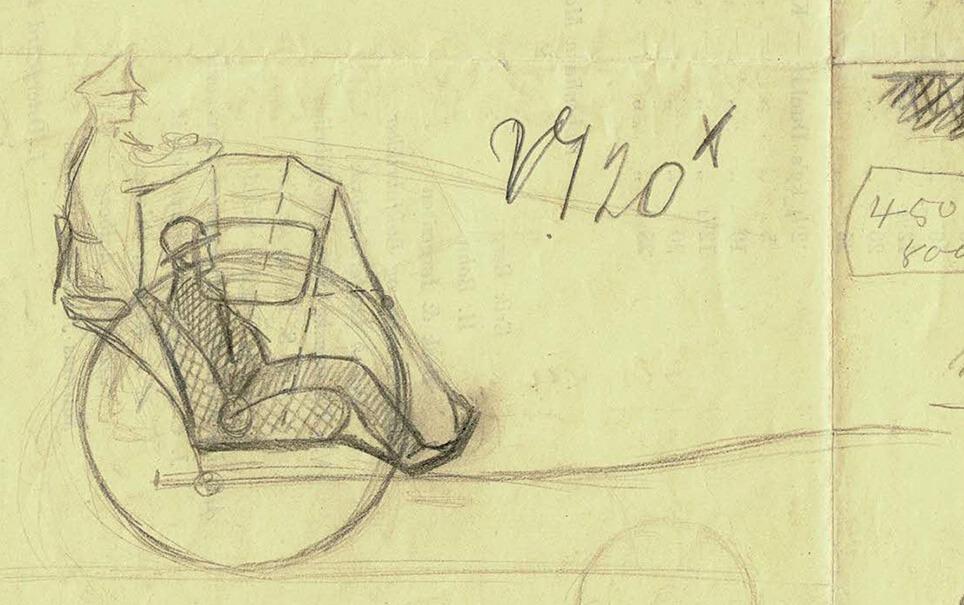 Erik Sommer skitserede sin Hansom cab på bagsiden af et stykke brugt papir.