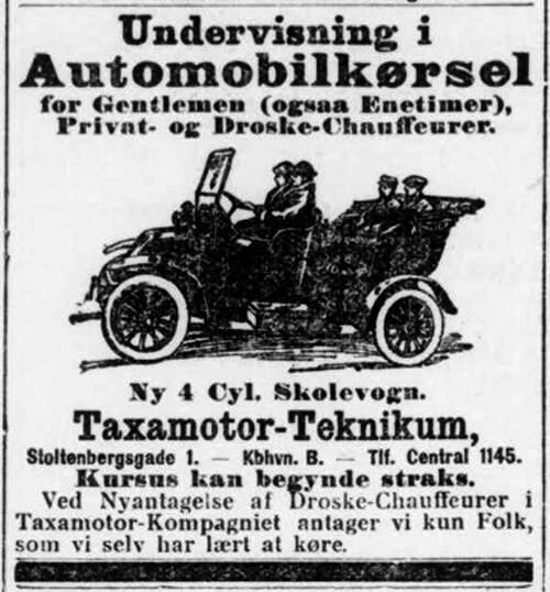Annonce for undervisning i automobilkørsel hos Taxamotor-Teknikum 1913