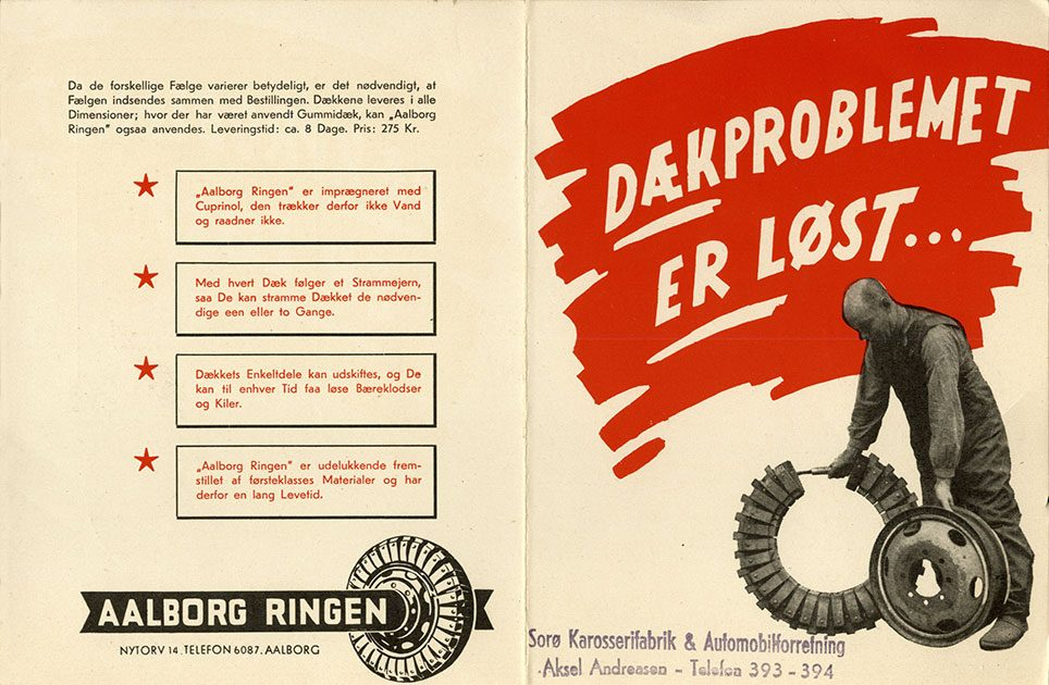 Brochure for Aalborg Ringen. Stemplet Sorø Karosserifabrik & Automobilforretning.