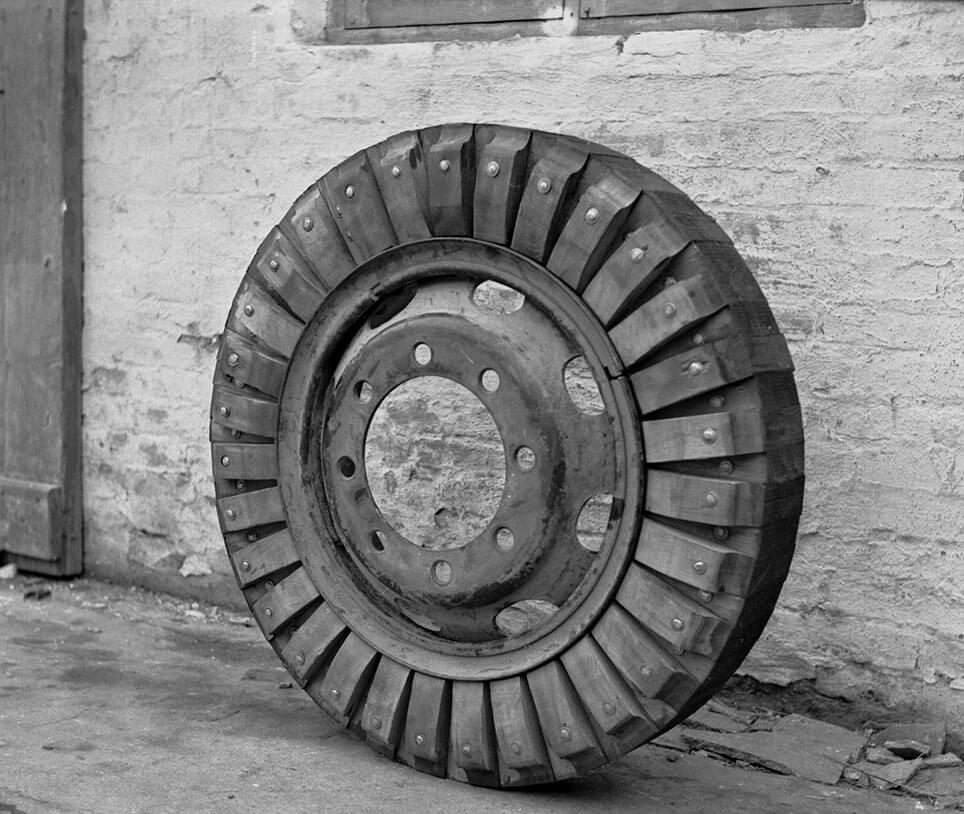 Færdigt hjul med trædæk fra Aalborg Ringen.