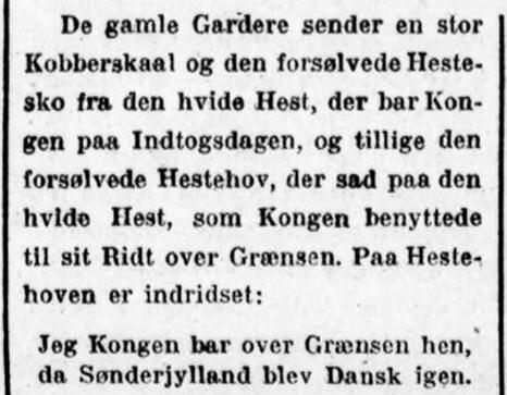 Omtale af gaver til kong Christian 10. og dronning Alexandrines sølvbryllup den 26. april 1923.
