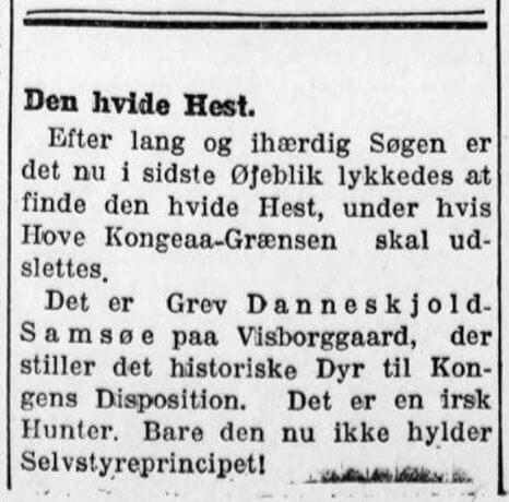Danneskjold-Samsøe stiller en irsk hunter til rådighed for kongen. Folkets Avis.