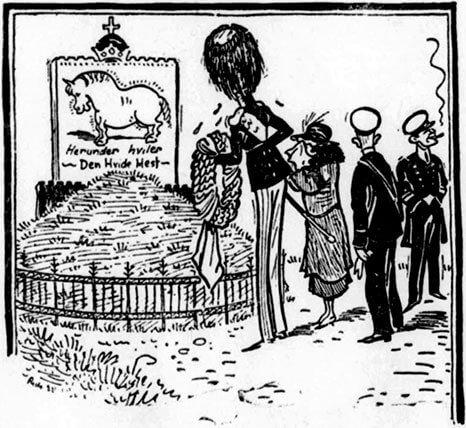 Satiretegning af gravhøj med den hvide hest.