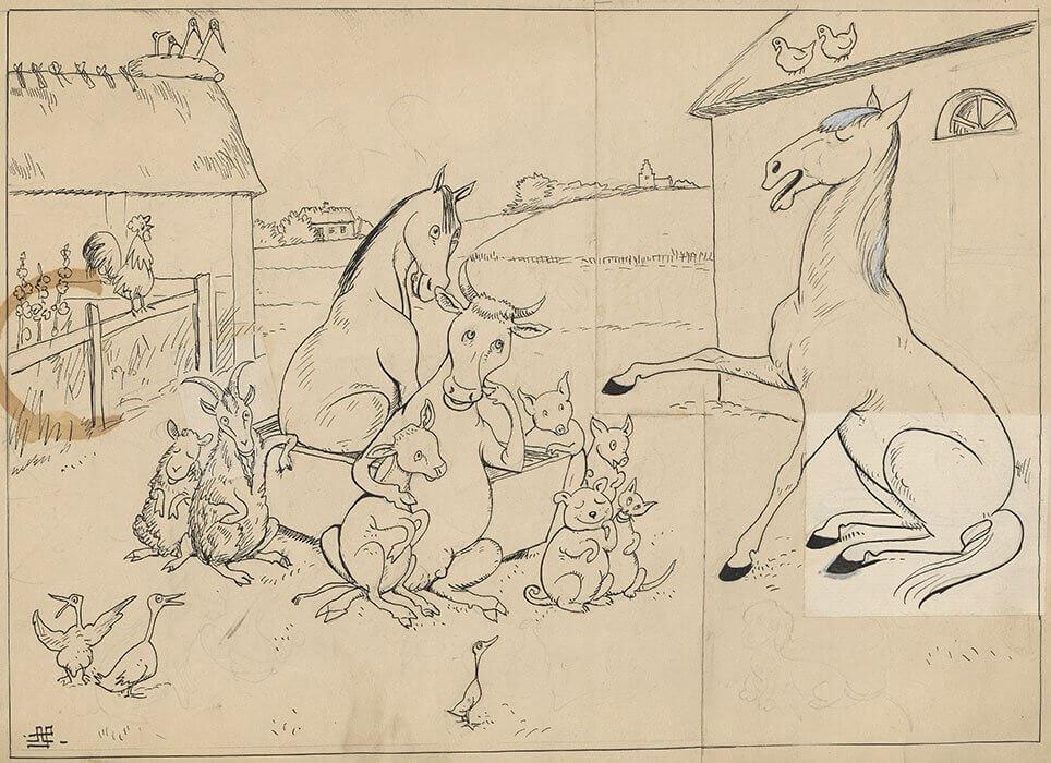 Den hvide hest fortæller. Satiretegning af Alfred Schmidt.