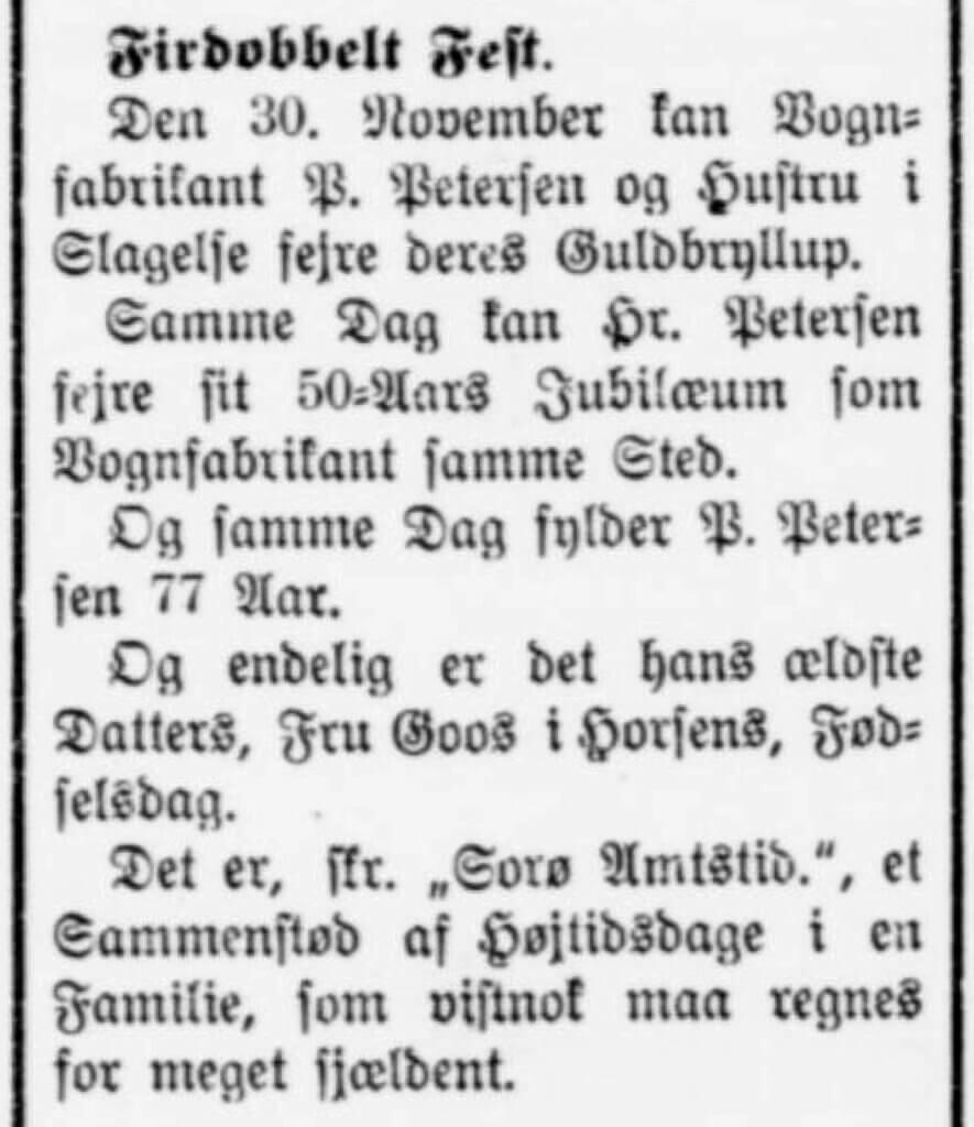 Firdobbelt fest hos Vognfabrikant Pedersen, Slagelse 1910