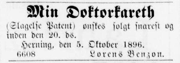 Læge Lorens Benzon i Herning sælger sin doktorvogn i 1896.
