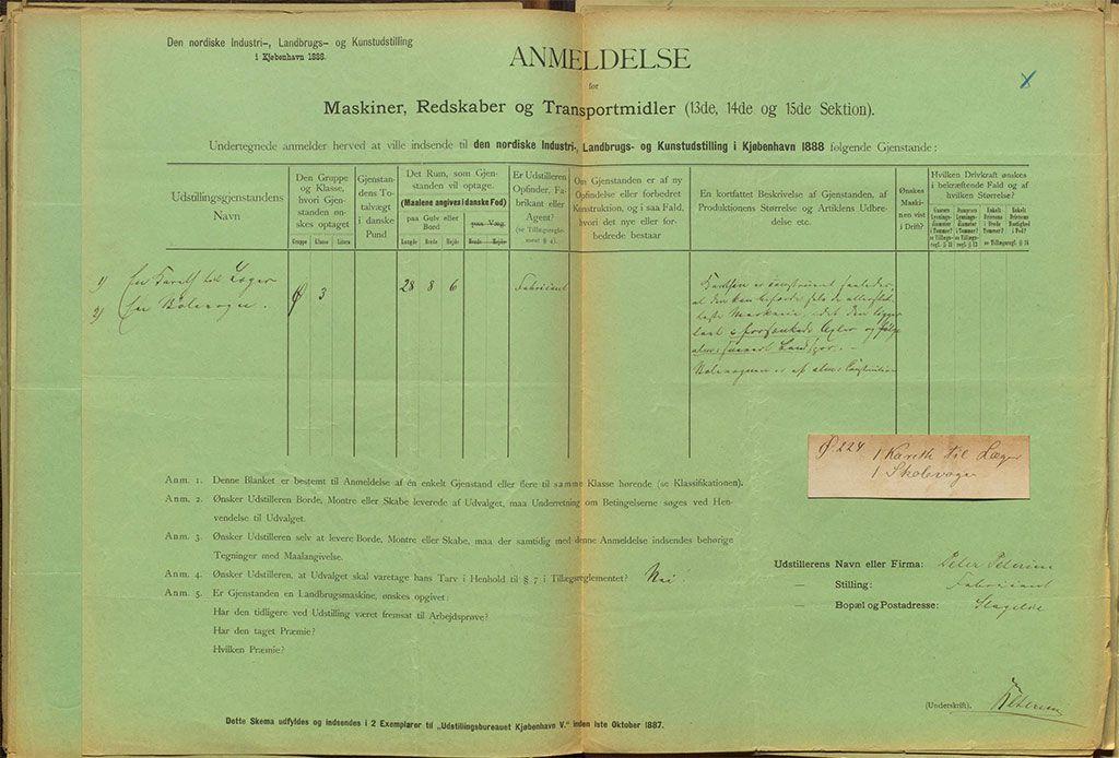 P. Petersens anmeldelse til industriudstillingen 1888, hvor han udstillede en doktorvogn og en skolevogn.