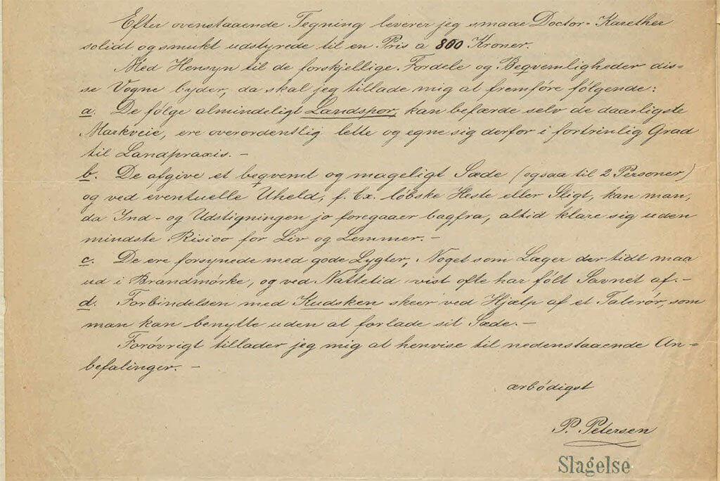 Omtale af Petersens doktorvogn 1888