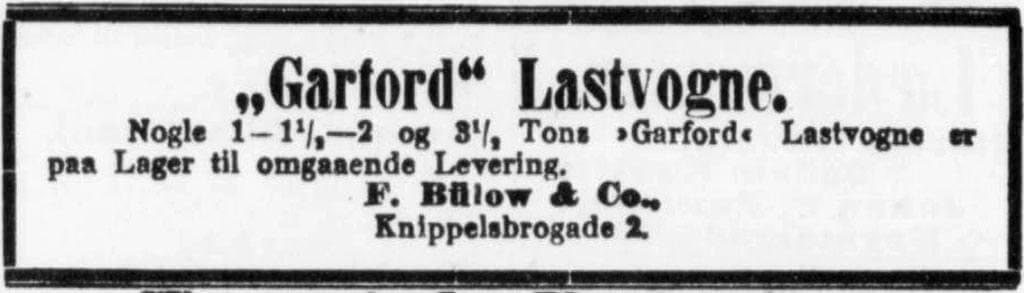 Annonce for Garford lastvogne 1917