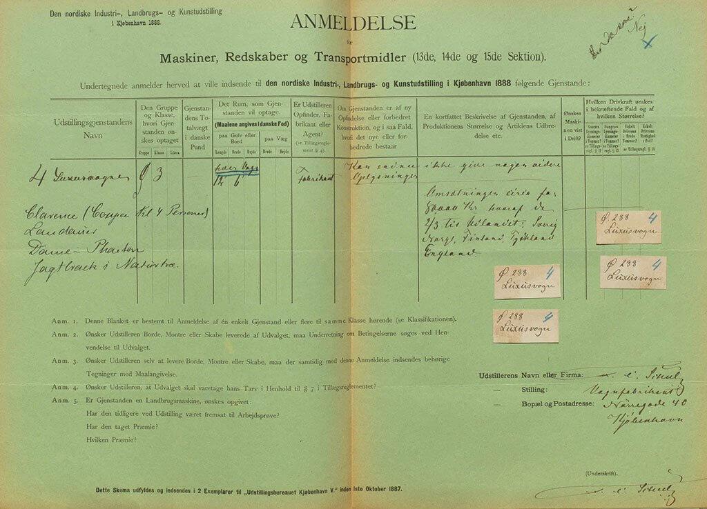 F. C. Schulz' anmeldelse til industriudstillinge 1888