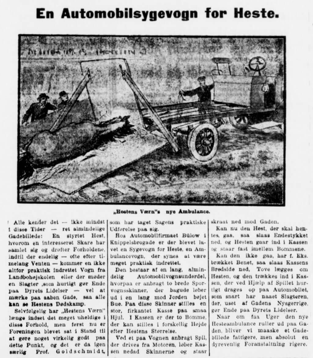 Hestens Værns hesteambulance omtalt i Aftenbladet, København, 16. maj 1918