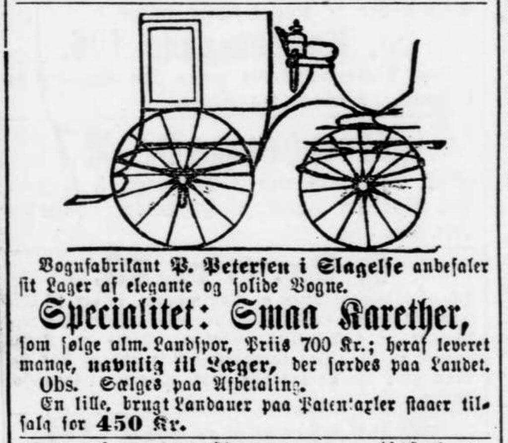 P. Petersens doktorvogn i avisannonce 1886.